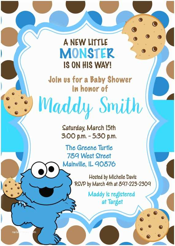 Monster Baby Shower Invitations Cookie Monster Sesame Street Baby Shower Invitation