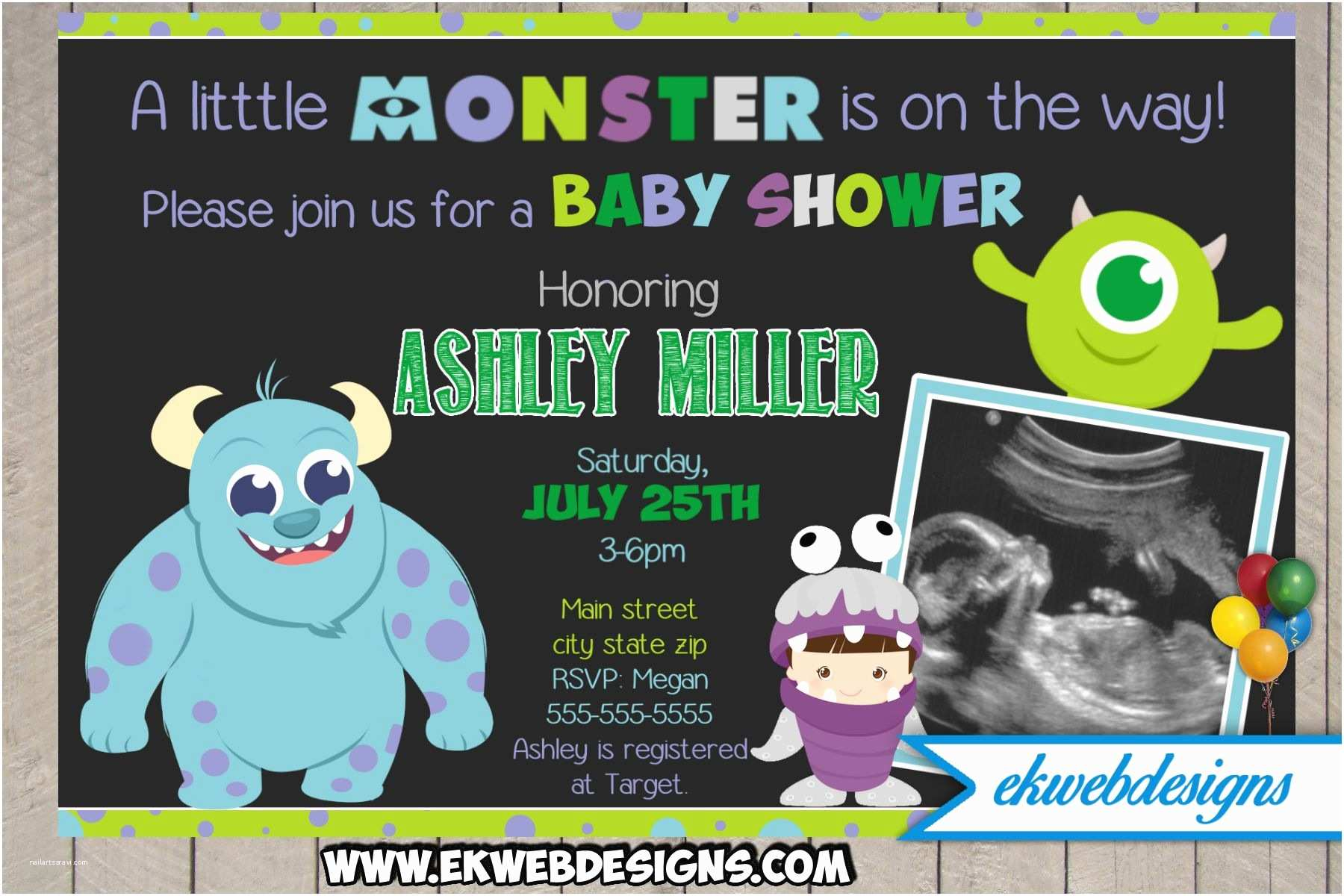 Monster Baby Shower Invitations Custom Monster Inc Baby Shower Invitation Monster