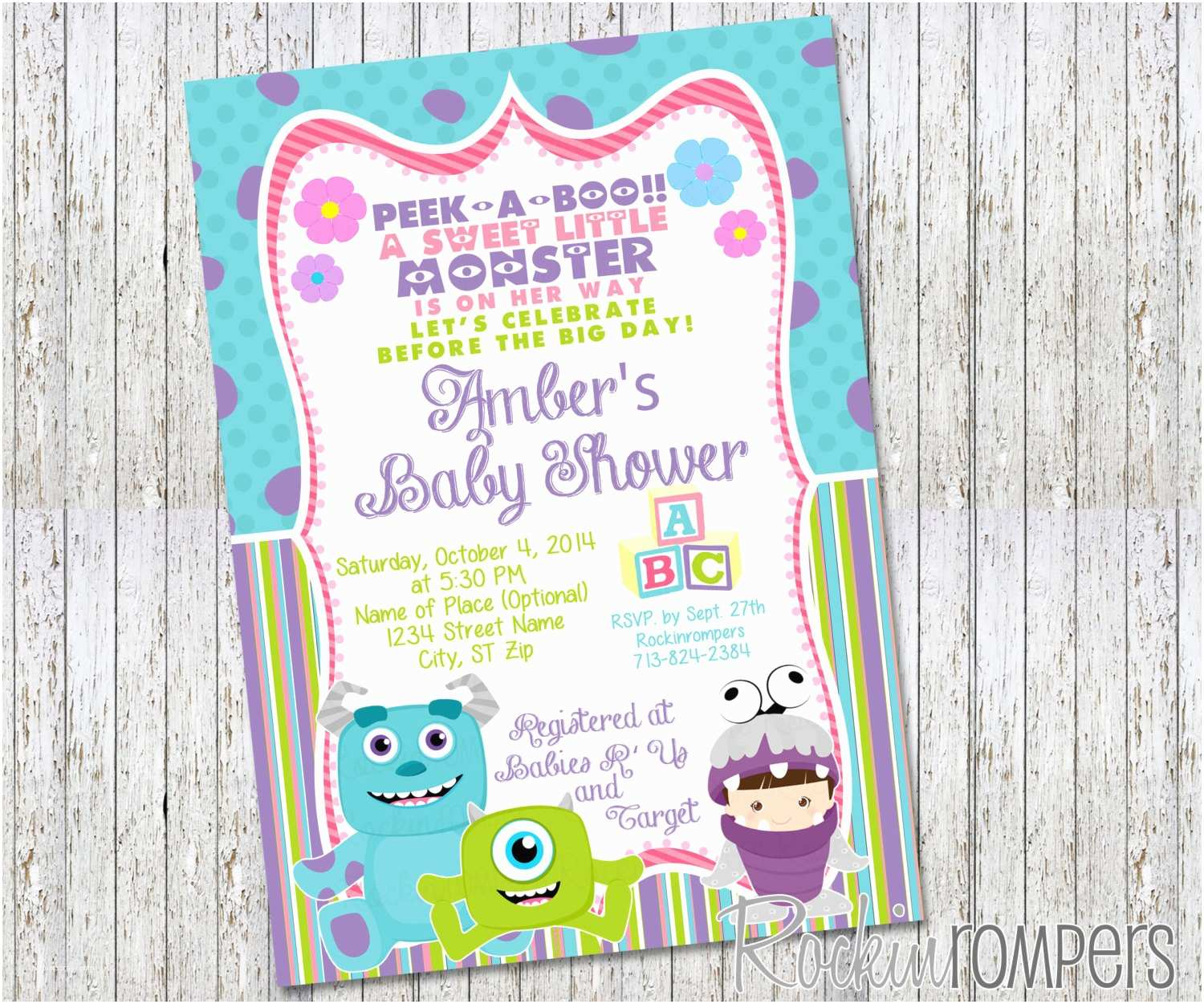 Monster Baby Shower Invitations Girl Monsters Inc Inspired Baby Shower Invitation