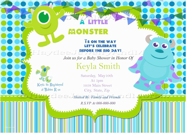 Monster  Shower Invitations Invitation For  Shower Stylish Monster Inc