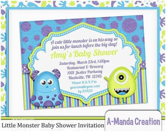 Monster Baby Shower Invitations Little Monster Baby Shower Invitation By Amandacreation