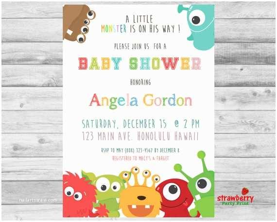 Monster Baby Shower Invitations Little Monster Baby Shower Invitation Monster Baby Shower