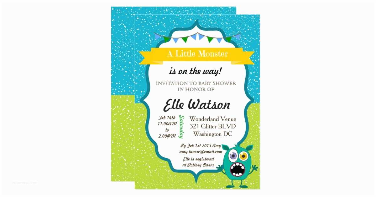 Monster Baby Shower Invitations Little Monster Baby Shower Invitations