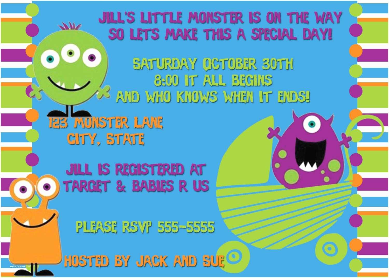 Monster Baby Shower Invitations Monster Baby Shower Birthday Invitation By