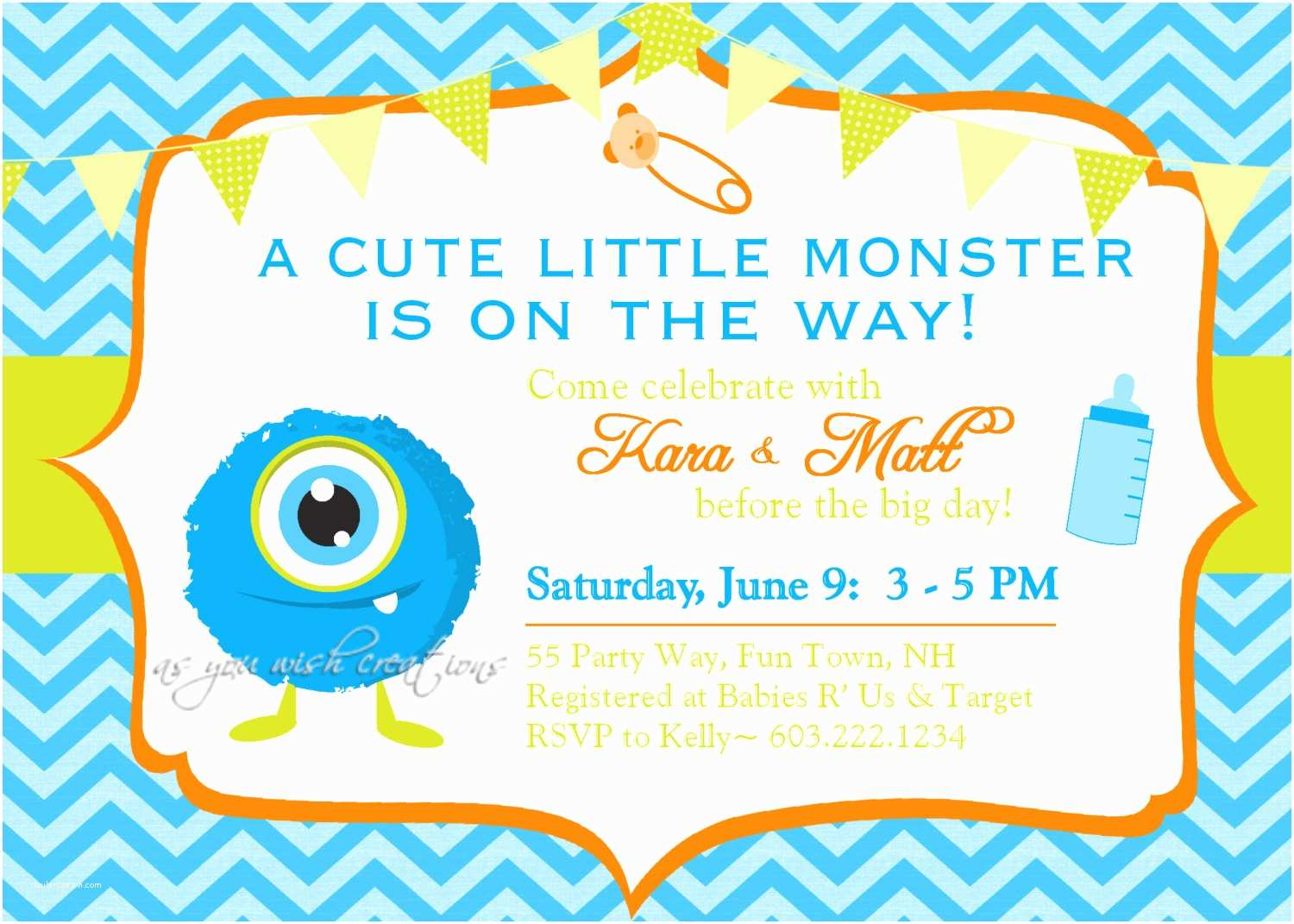Monster Baby Shower Invitations Monster Baby Shower Invitation Boy by asyouwishcreations4u