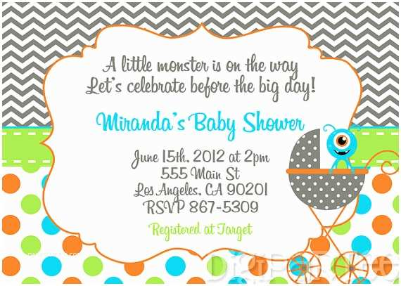 Monster Baby Shower Invitations Monster Baby Shower Invitation by Dpdesigns2012 On Etsy