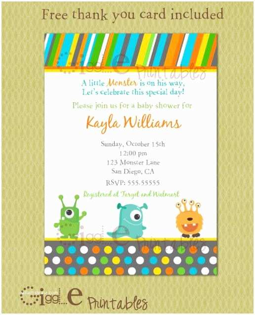 Monster Baby Shower Invitations Monster Baby Shower Invitation Free Thank You Card