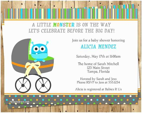Monster Baby Shower Invitations Monster Baby Shower Invitations Boy Stripes by
