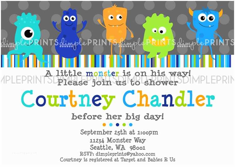 Monster Baby Shower Invitations Monster Baby Shower Invitations Template