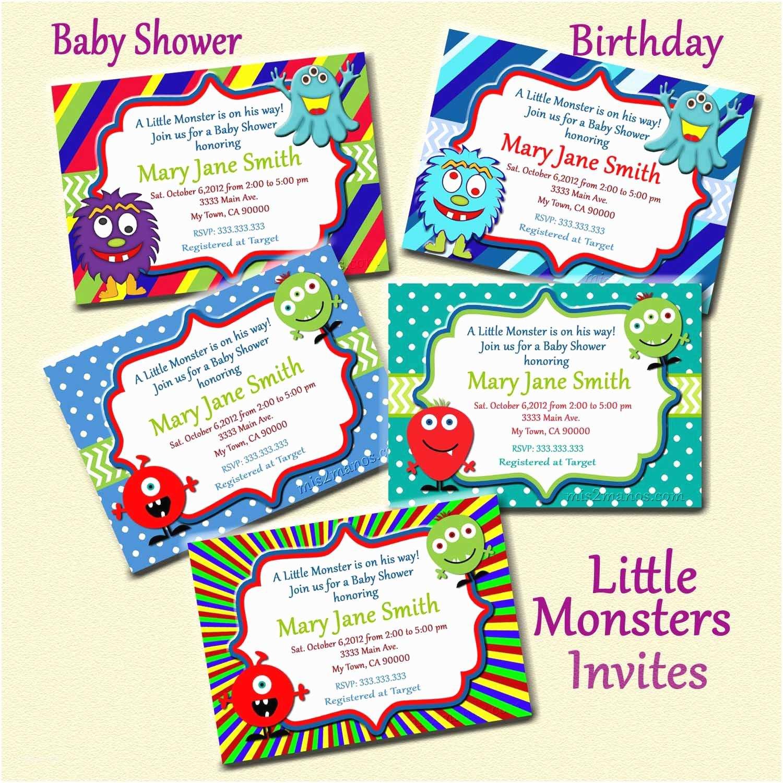 Monster Baby Shower Invitations Monster Baby Shower Invites Little Monster By