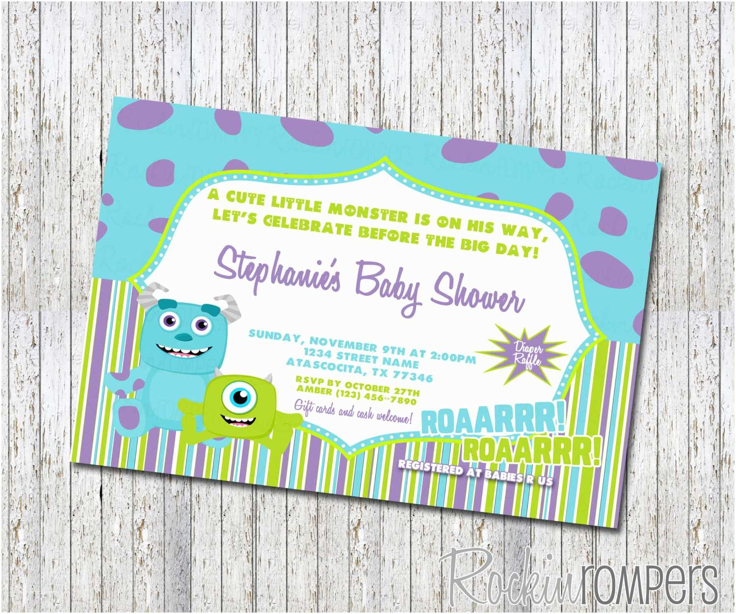 Monster Baby Shower Invitations Monster Inc Baby Shower Invitations