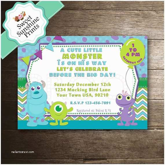 Monster Baby Shower Invitations Monster Inc Boy Baby Shower Invitation by Sweetsunshineprints