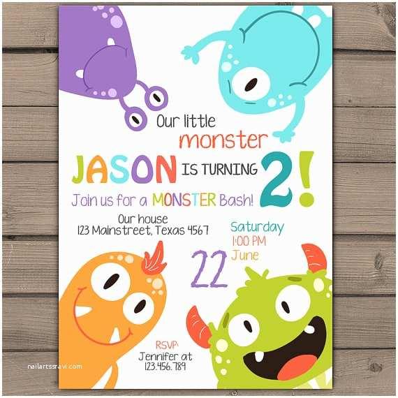 Monster Birthday Invitations Little Monster Birthday Invitation Monster Party