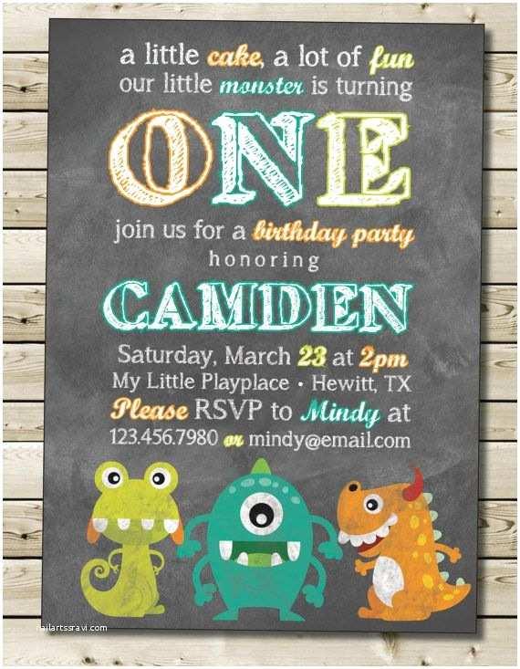 Monster Birthday Invitations Monster Birthday Invitation Little Monster Boy or Girl