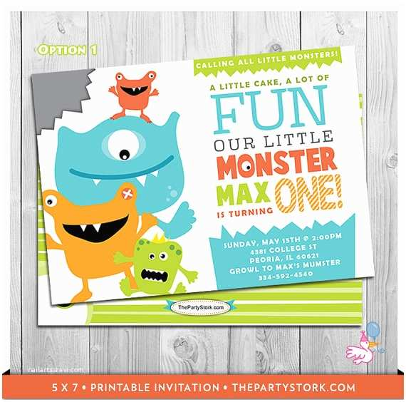 Monster Birthday Invitations Monster First Birthday Invitation Printable Boys 1st