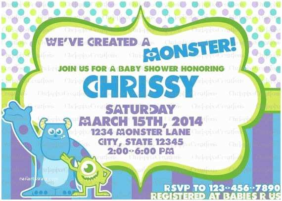 Monster Inc Baby Shower Invitations 1000 Images About On Pinterest
