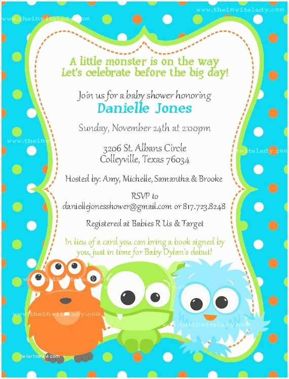 Monster Inc Baby Shower Invitations Little Monster Baby Shower Invitations for Brooke