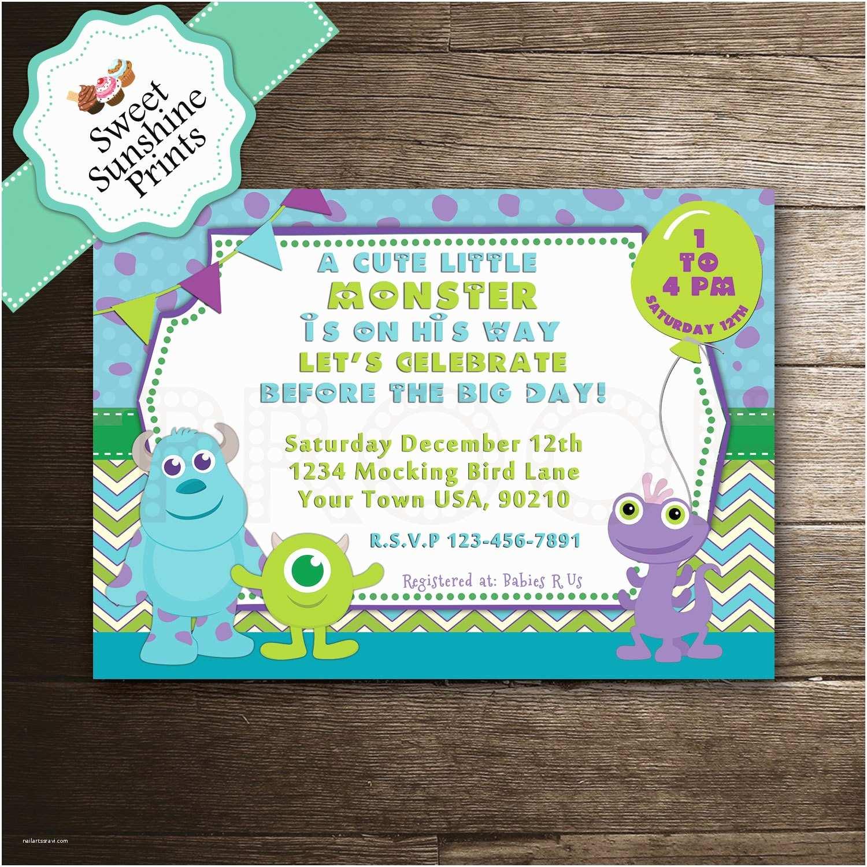 Monster Inc Baby Shower Invitations Monster Inc Boy Baby Shower Invitation Sully Mike