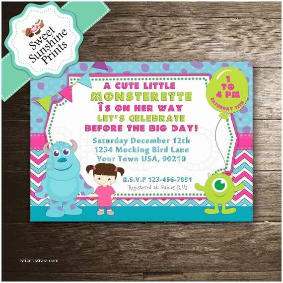 Monster Inc Baby Shower Invitations Monster Inc Girl Baby Shower Invitation by Sweetsunshineprints
