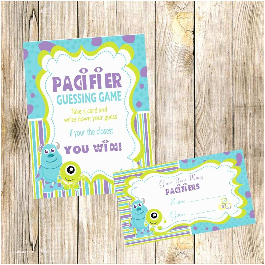 Monster Inc Baby Shower Invitations Monsters Inc Baby Shower Guess How Many Pacifiers Game by