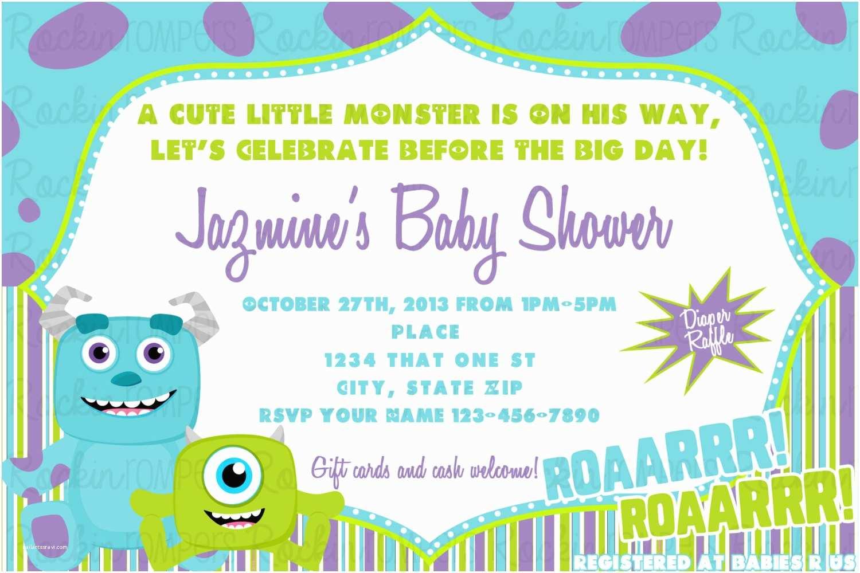 Monster Inc Baby Shower Invitations Monsters Inc Baby Shower Invitation by Rockinrompers On Etsy