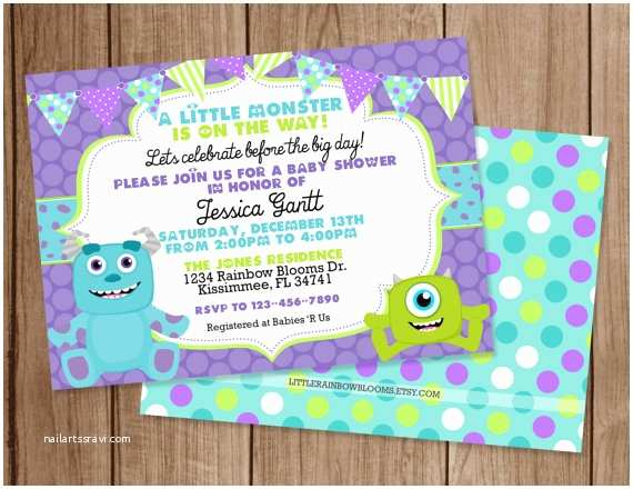 Monster Inc Baby Shower Invitations Monsters Inc Printable Baby Shower by Littlerainbowblooms