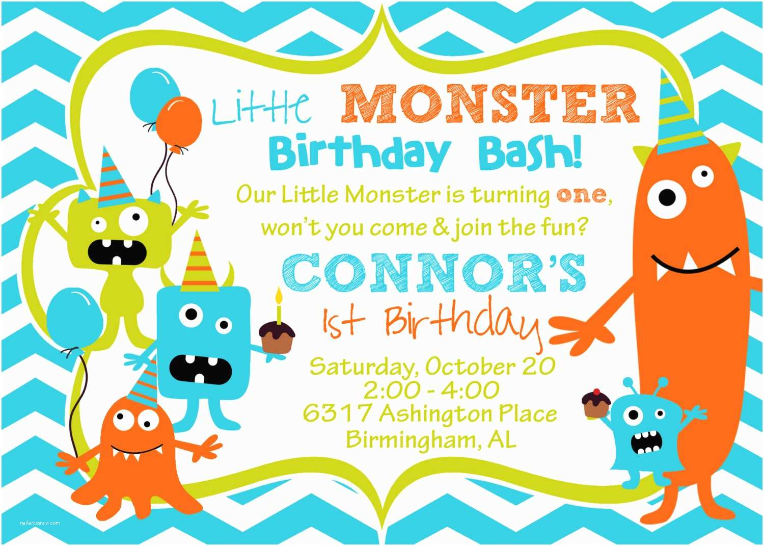 Monster Party Invitations Cupcake Monster Bash Birthday Party by Burleygirldesigns