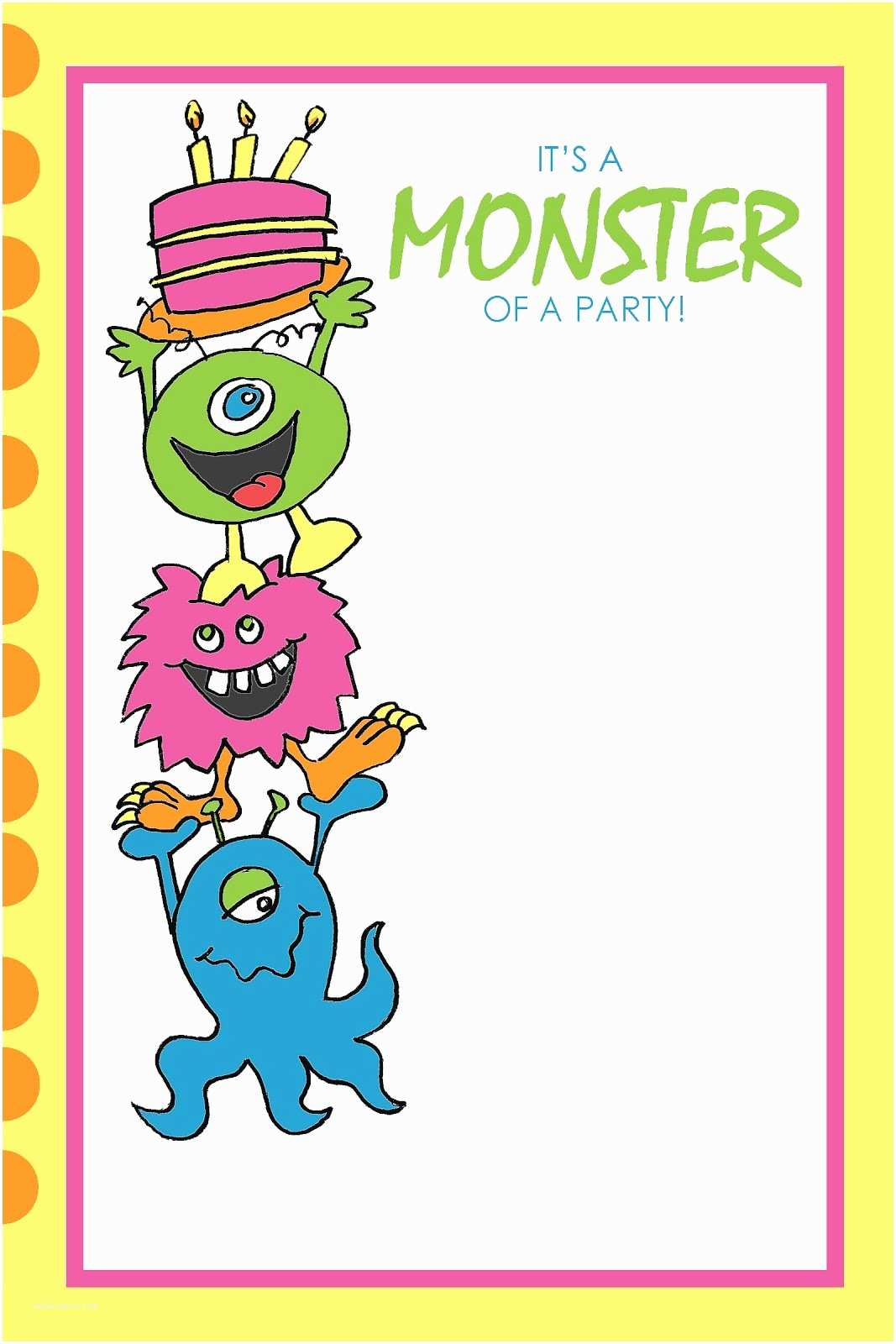 Monster Party Invitations Everyday Art Monster Party Printables Free
