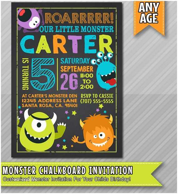 Monster Party Invitations Little Monster Birthday Invitation Monster by Wolcottdesigns