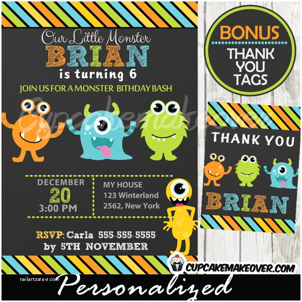 Monster Party Invitations Little Monsters Birthday Party Invitation Personalized