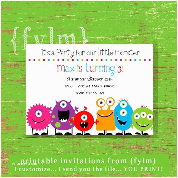 Monster Party Invitations Monster Party Printable Party Invitations by