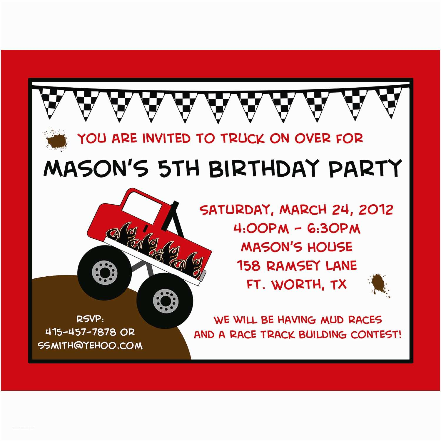 Monster Truck Birthday Invitations 20 Personalized Birthday Invitations Monster Truck