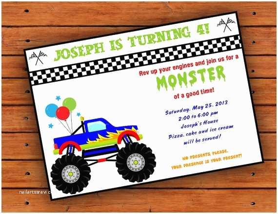 Monster Truck Birthday Invitations 8 Best Of Monster Truck Template Printable