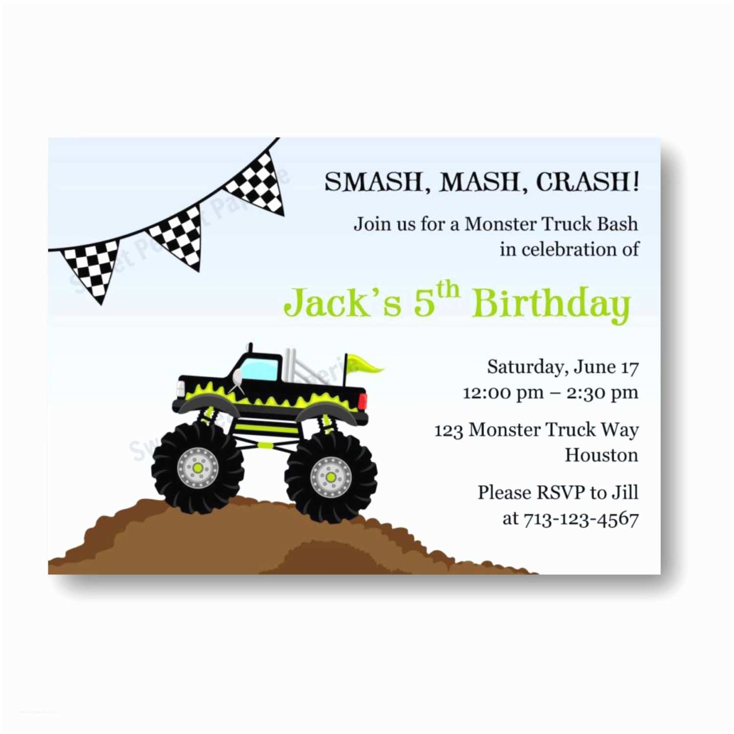 Monster Truck Birthday Invitations Chandeliers & Pendant Lights
