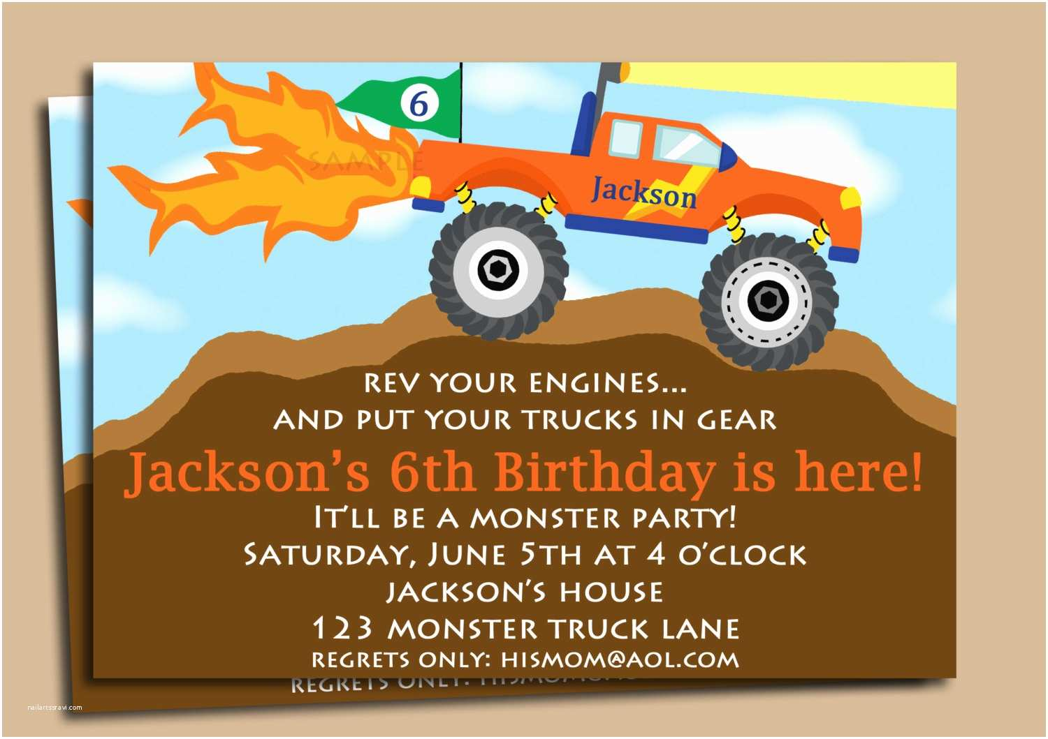 Monster Truck Birthday Invitations Invitation
