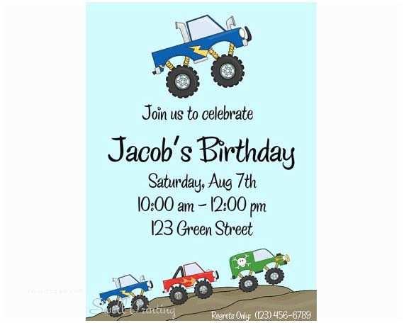 Monster Truck Birthday Invitations Monster Truck Birthday Invitation Monster Trucks by