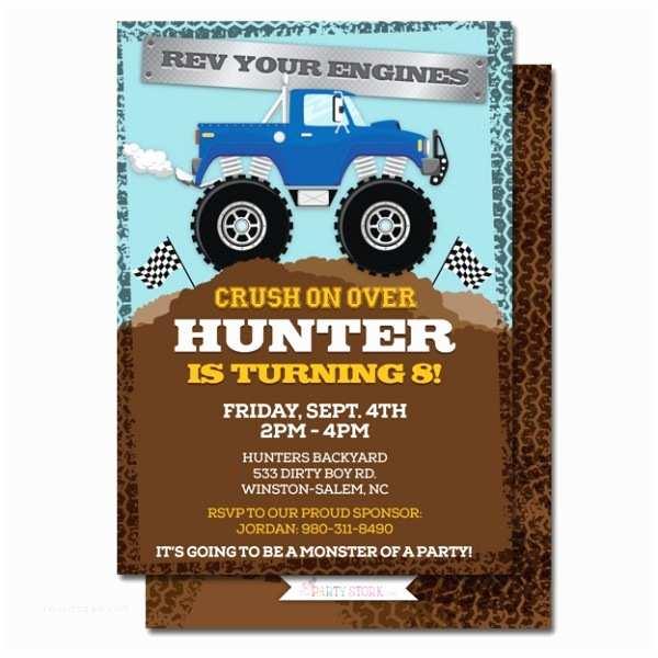 Monster Truck Birthday Invitations Monster Truck Birthday Party Invitation