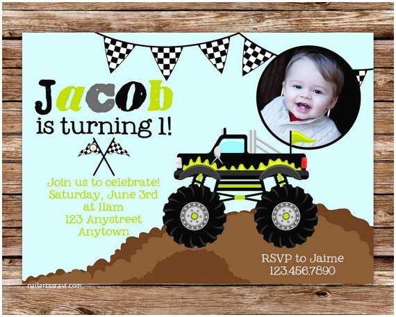 Monster Truck Birthday Invitations Monster Truck Invitation Monster Truck by thepaperblossomshop