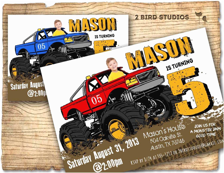 Monster Truck Birthday Invitations Monster Truck Invitation Monster Truck Party Invite Diy