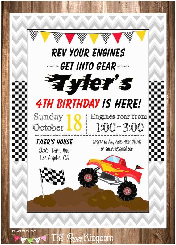Monster Truck Birthday Invitations Monster Truck Invitation Printable Monster Truck Birthday