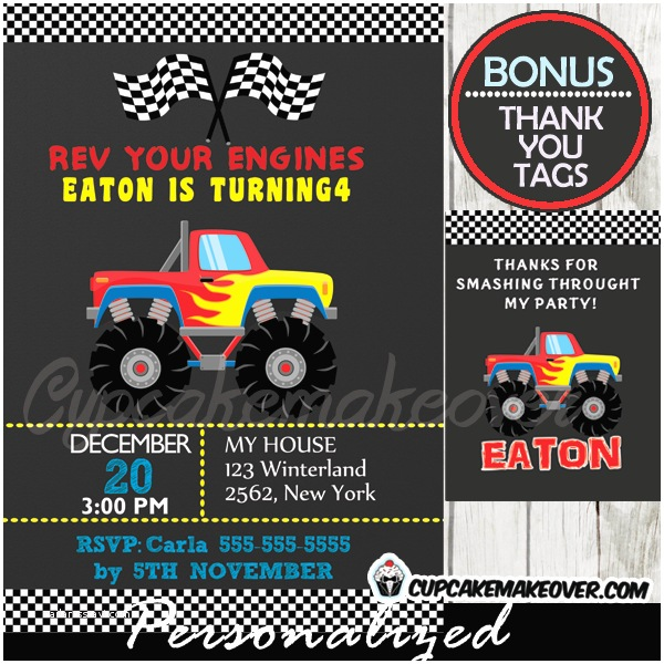 Monster Truck Birthday Invitations Red Monster Truck Party Invitation Personalized D2