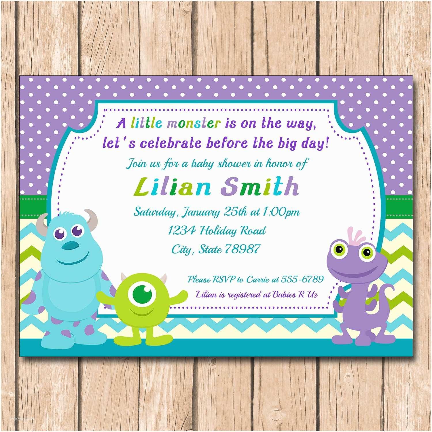 Monsters Inc Baby Shower Invitations Kitchen & Dining