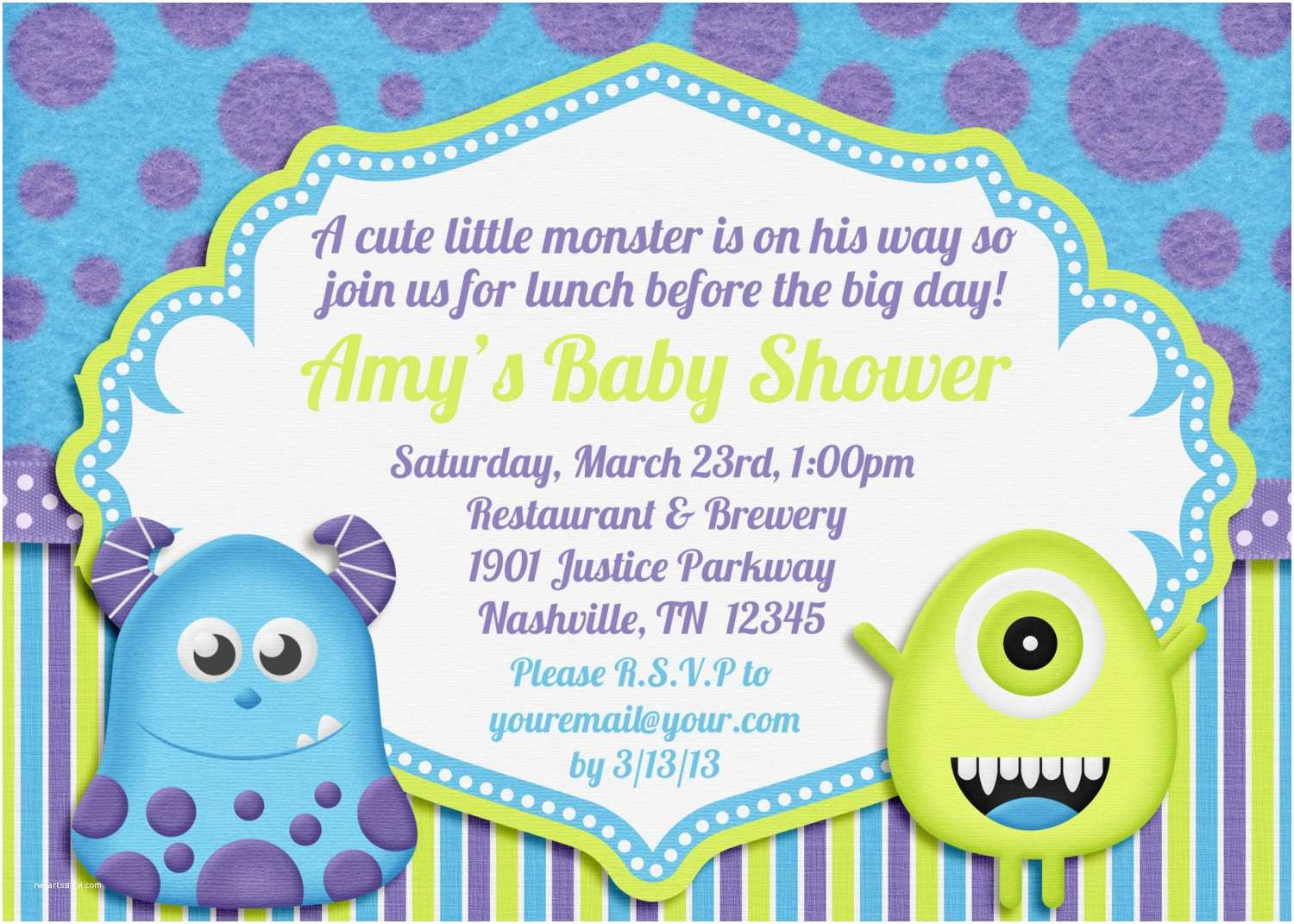 Monsters Inc Baby Shower Invitations Little Monster Baby Shower Invitation by Amandacreation On