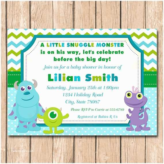 Monsters Inc Baby Shower Invitations Mini Monsters Inc Baby Shower Invitation Boy or Girl