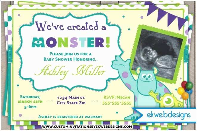 Monsters Inc Baby Shower Invitations Monster Inc Baby Shower Invitations