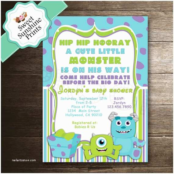 Monsters Inc Baby Shower Invitations Monster Inc Boy Baby Shower Invitation by Sweetsunshineprints
