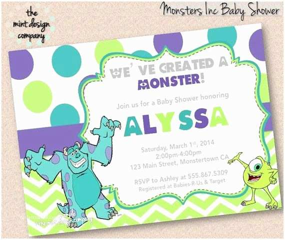 Monsters Inc Baby Shower Invitations Monsters Inc Baby Shower Invitation Boy or Girl by