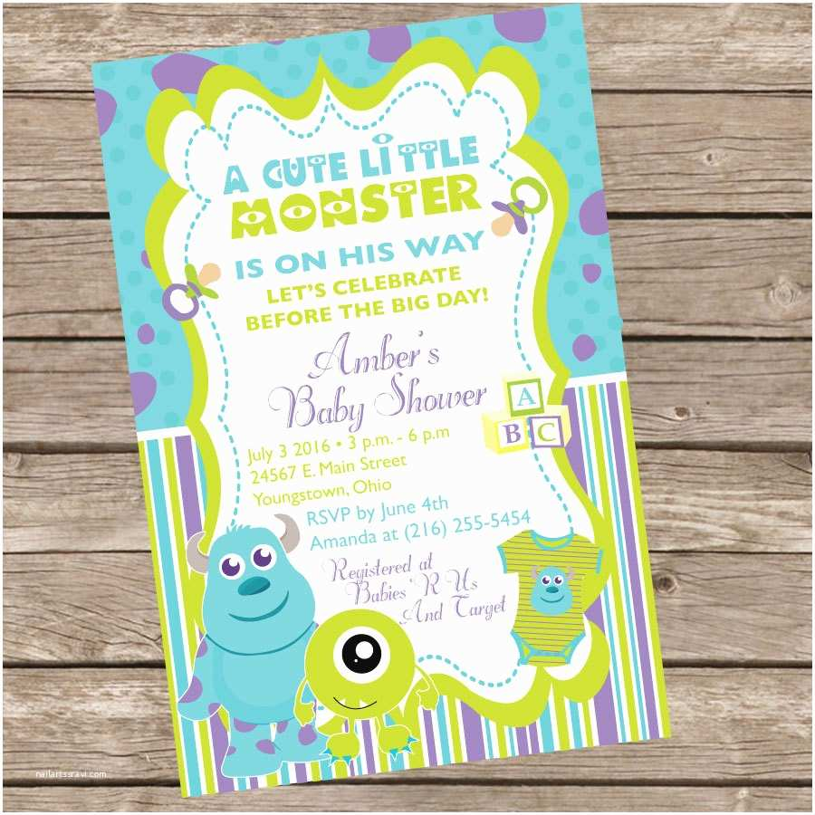 Monsters Inc Baby Shower Invitations Monsters Inc Baby Shower Invitation by Trishatreedesigns