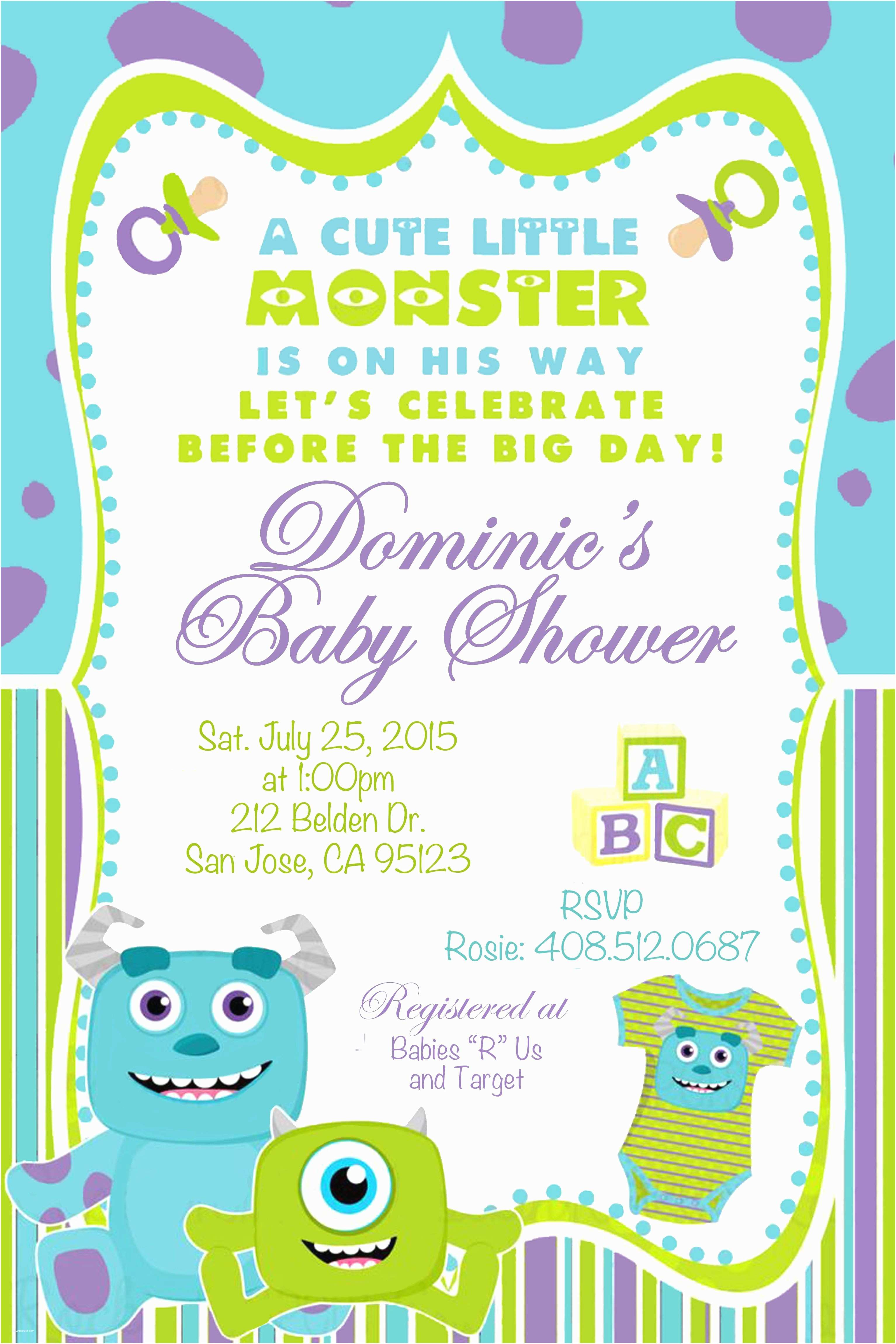 Monsters Inc Baby Shower Invitations Monsters Inc Baby Shower Invitation for Custom orders