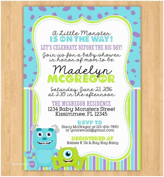 Monsters Inc Baby Shower Invitations Monsters Inc Inspired Baby Shower Invitation by Little
